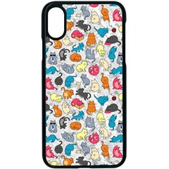 Funny Cute Colorful Cats Pattern Apple Iphone X Seamless Case (black)