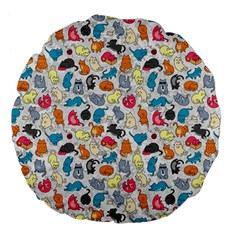 Funny Cute Colorful Cats Pattern Large 18  Premium Flano Round Cushions