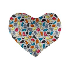 Funny Cute Colorful Cats Pattern Standard 16  Premium Flano Heart Shape Cushions
