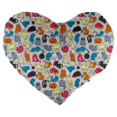 Funny Cute Colorful Cats Pattern Large 19  Premium Flano Heart Shape Cushions