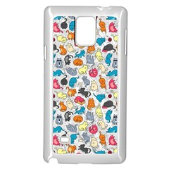 Funny Cute Colorful Cats Pattern Samsung Galaxy Note 4 Case (white)