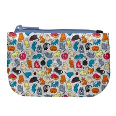 Funny Cute Colorful Cats Pattern Large Coin Purse