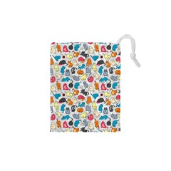Funny Cute Colorful Cats Pattern Drawstring Pouches (xs)
