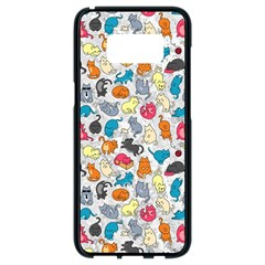 Funny Cute Colorful Cats Pattern Samsung Galaxy S8 Black Seamless Case