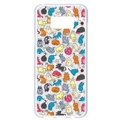 Funny Cute Colorful Cats Pattern Samsung Galaxy S8 Plus White Seamless Case