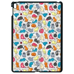 Funny Cute Colorful Cats Pattern Apple Ipad Pro 9 7   Black Seamless Case
