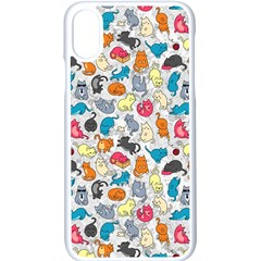 Funny Cute Colorful Cats Pattern Apple Iphone X Seamless Case (white)