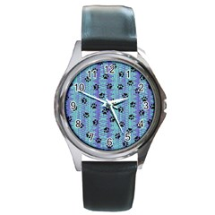 Footprints Cat Black On Batik Pattern Teal Violet Round Metal Watch