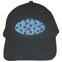 Footprints Cat Black On Batik Pattern Teal Violet Black Cap
