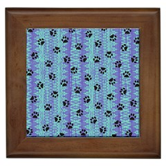 Footprints Cat Black On Batik Pattern Teal Violet Framed Tiles