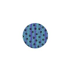 Footprints Cat Black On Batik Pattern Teal Violet 1  Mini Magnets