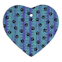 Footprints Cat Black On Batik Pattern Teal Violet Ornament (heart)