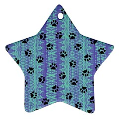 Footprints Cat Black On Batik Pattern Teal Violet Ornament (star) by EDDArt
