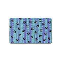 Footprints Cat Black On Batik Pattern Teal Violet Magnet (name Card) by EDDArt