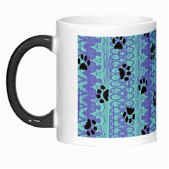 Footprints Cat Black On Batik Pattern Teal Violet Morph Mugs by EDDArt