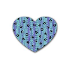 Footprints Cat Black On Batik Pattern Teal Violet Rubber Coaster (heart)