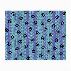 Footprints Cat Black On Batik Pattern Teal Violet Small Glasses Cloth (2 Side)