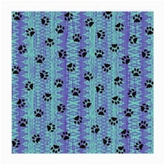 Footprints Cat Black On Batik Pattern Teal Violet Medium Glasses Cloth