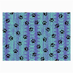Footprints Cat Black On Batik Pattern Teal Violet Large Glasses Cloth (2 Side)