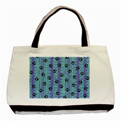 Footprints Cat Black On Batik Pattern Teal Violet Basic Tote Bag (two Sides)
