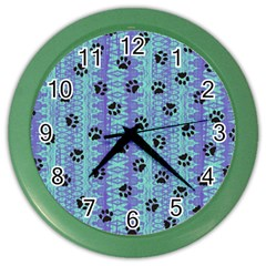 Footprints Cat Black On Batik Pattern Teal Violet Color Wall Clock