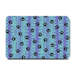 Footprints Cat Black On Batik Pattern Teal Violet Small Doormat