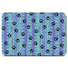 Footprints Cat Black On Batik Pattern Teal Violet Large Doormat