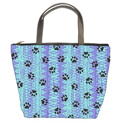 Footprints Cat Black On Batik Pattern Teal Violet Bucket Bags