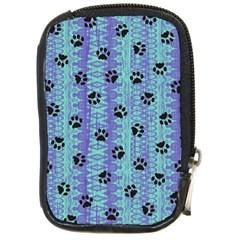Footprints Cat Black On Batik Pattern Teal Violet Compact Camera Cases by EDDArt