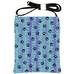 Footprints Cat Black On Batik Pattern Teal Violet Shoulder Sling Bags