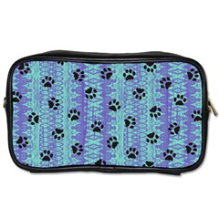 Footprints Cat Black On Batik Pattern Teal Violet Toiletries Bags 2 Side by EDDArt
