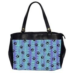 Footprints Cat Black On Batik Pattern Teal Violet Office Handbags (2 Sides)  by EDDArt