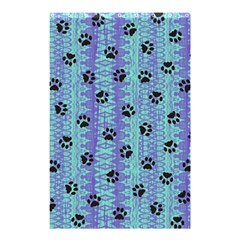 Footprints Cat Black On Batik Pattern Teal Violet Shower Curtain 48  X 72  (small)