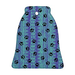 Footprints Cat Black On Batik Pattern Teal Violet Bell Ornament (two Sides) by EDDArt