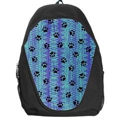 Footprints Cat Black On Batik Pattern Teal Violet Backpack Bag by EDDArt