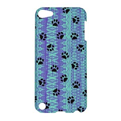 Footprints Cat Black On Batik Pattern Teal Violet Apple Ipod Touch 5 Hardshell Case by EDDArt