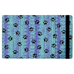 Footprints Cat Black On Batik Pattern Teal Violet Apple Ipad 3/4 Flip Case by EDDArt
