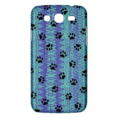 Footprints Cat Black On Batik Pattern Teal Violet Samsung Galaxy Mega 5 8 I9152 Hardshell Case  by EDDArt