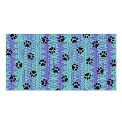 Footprints Cat Black On Batik Pattern Teal Violet Satin Shawl by EDDArt