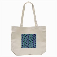 Footprints Cat Black On Batik Pattern Teal Violet Tote Bag (cream)