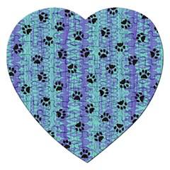 Footprints Cat Black On Batik Pattern Teal Violet Jigsaw Puzzle (heart)