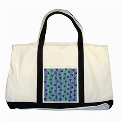 Footprints Cat Black On Batik Pattern Teal Violet Two Tone Tote Bag