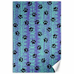 Footprints Cat Black On Batik Pattern Teal Violet Canvas 20  X 30