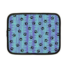 Footprints Cat Black On Batik Pattern Teal Violet Netbook Case (small)