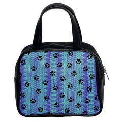 Footprints Cat Black On Batik Pattern Teal Violet Classic Handbags (2 Sides) by EDDArt