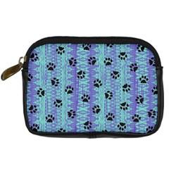 Footprints Cat Black On Batik Pattern Teal Violet Digital Camera Cases by EDDArt