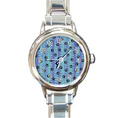 Footprints Cat Black On Batik Pattern Teal Violet Round Italian Charm Watch