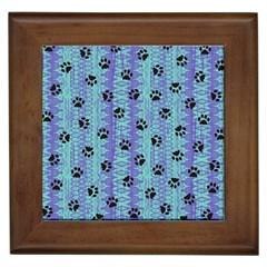 Footprints Cat Black On Batik Pattern Teal Violet Framed Tiles by EDDArt