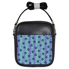 Footprints Cat Black On Batik Pattern Teal Violet Girls Sling Bags by EDDArt
