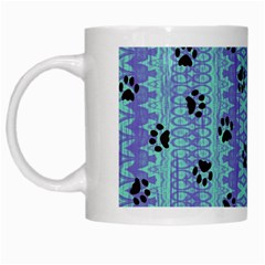 Footprints Cat Black On Batik Pattern Teal Violet White Mugs